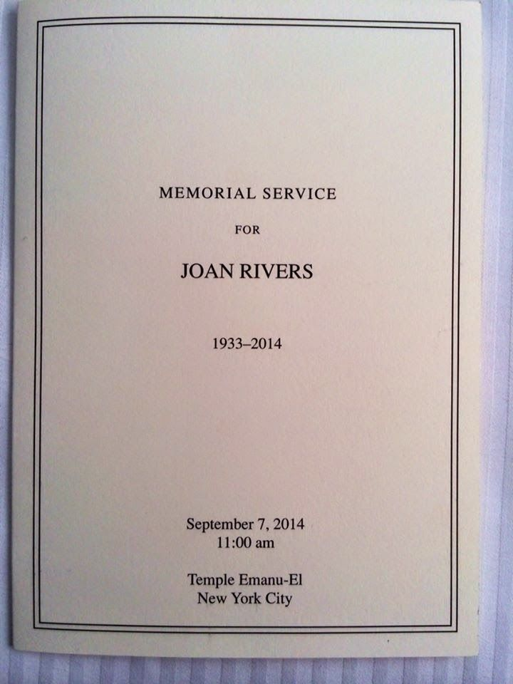 Order of service for the Joan Rivers funeral (The Randy ...