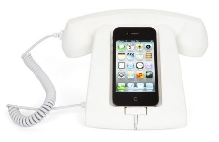 hardtofind. | Retro handset with home dock in white - Hard To Find Monochrome Style