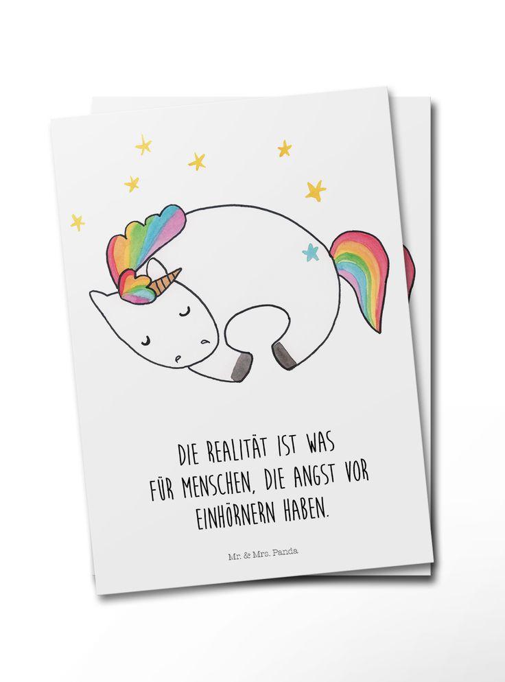 Postkarte Einhorn Nacht aus Karton 300 Gramm  weiß – Das Original von Mr. & Mrs. Panda.  Diese wunderschöne Postkarte aus edlem und hochwertigem 300…