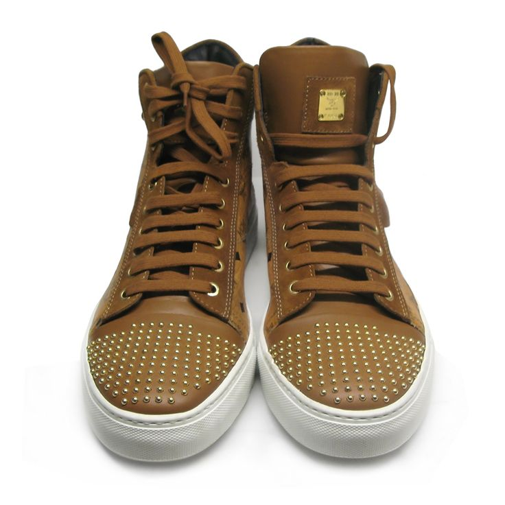 Amazing MCM by Michalsky sneaker Urban Nomad III High, in Cognac leather with suede details, studs and MCM logo pattern.Size: 46.Made in Italy.