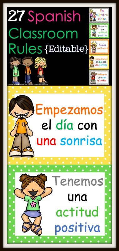 """27 Spanish Classroom Rules Posters (editable) are a great tool to reinforce classroom expectations to your students. The following is included: 4-31: Non-editable Classroom Rules in Spanish (Download preview to get a better look) 32-58: Editable Posters you can customize for any class rule you would like! Simply click on each card under """"class rule"""" and type your rule. Note: The art is locked down and cannot be changed."""