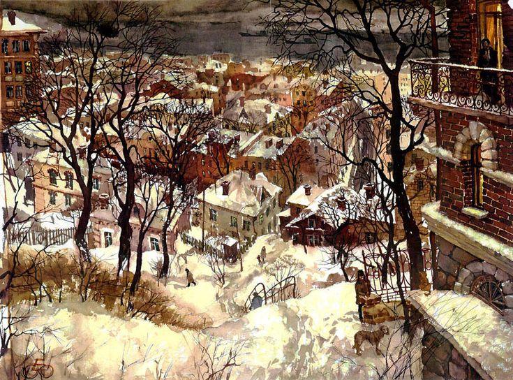 Евгений и Оксана Осиповы. Вечер снежного дня, бумага,смешанная техника. Городской пейзаж. Владивосток.