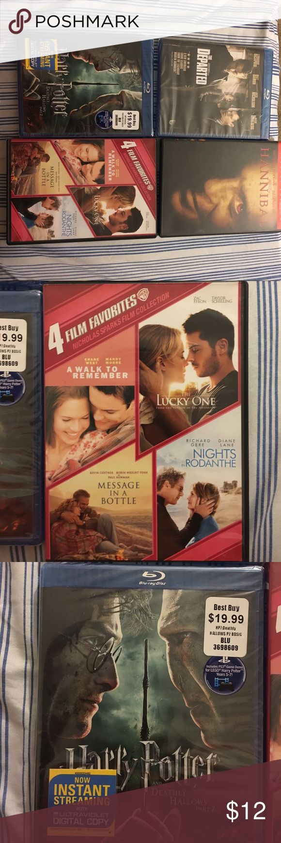 Bundle movies All brand new bundle movies. Blu-ray The Departed, Blu-ray Harry Potter the deathly hollows pt 2 Hannibal and 4 Film romance collection including (A walk to remember, the lucky one, message in a bottle, and nights in rodanthe) Other