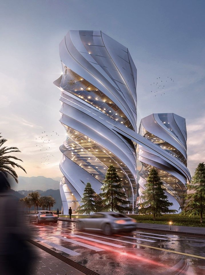 Design For Twin Office Buildings Rendered In Lumion 9 By عمارة الفوتوشوب And Mohanad Alba Skyscraper Architecture Futuristic Architecture Amazing Architecture