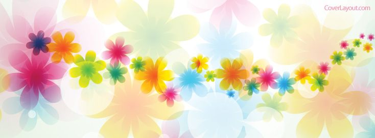 Colorful Trippy Flowers Facebook Cover CoverLayout.com