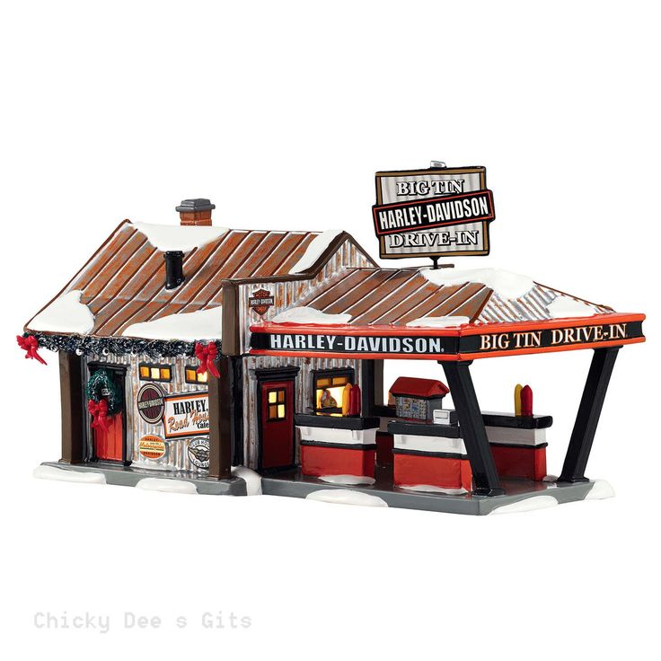 Snow Village Harley Big Tin Drive-In 4042407 Department 56 MOTORCYCLE NIB 2015