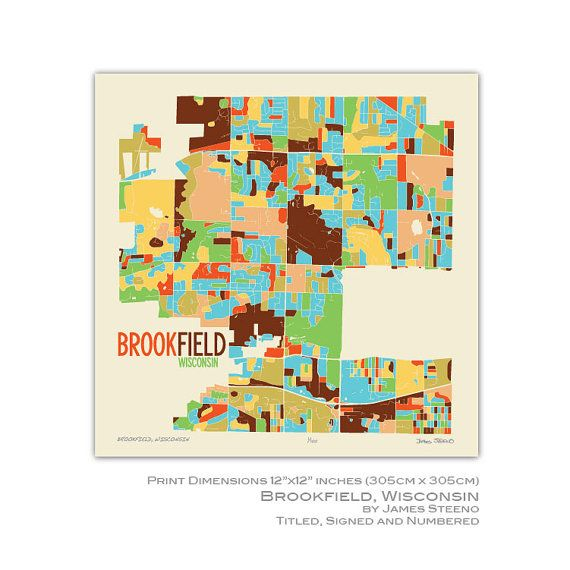 Brookfield  Wisconsin Art Map Print  Waukesha County  by James Steeno  Home  GoodsWisconsinMaps. 390 best  Home Goods  images on Pinterest