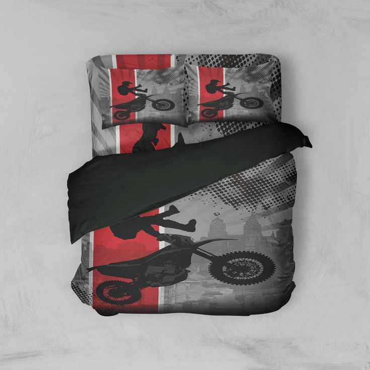 Dream In Extreme Motocross Sheet Set in Red from Extremely Stoked