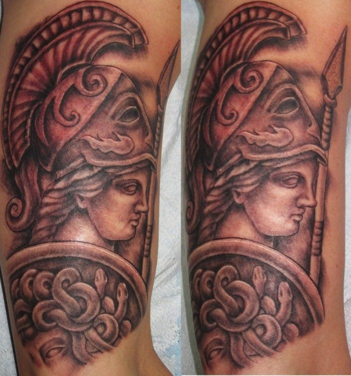 Athena Tattoo by Lisa Murphy at www.againstthegraintattoo.com