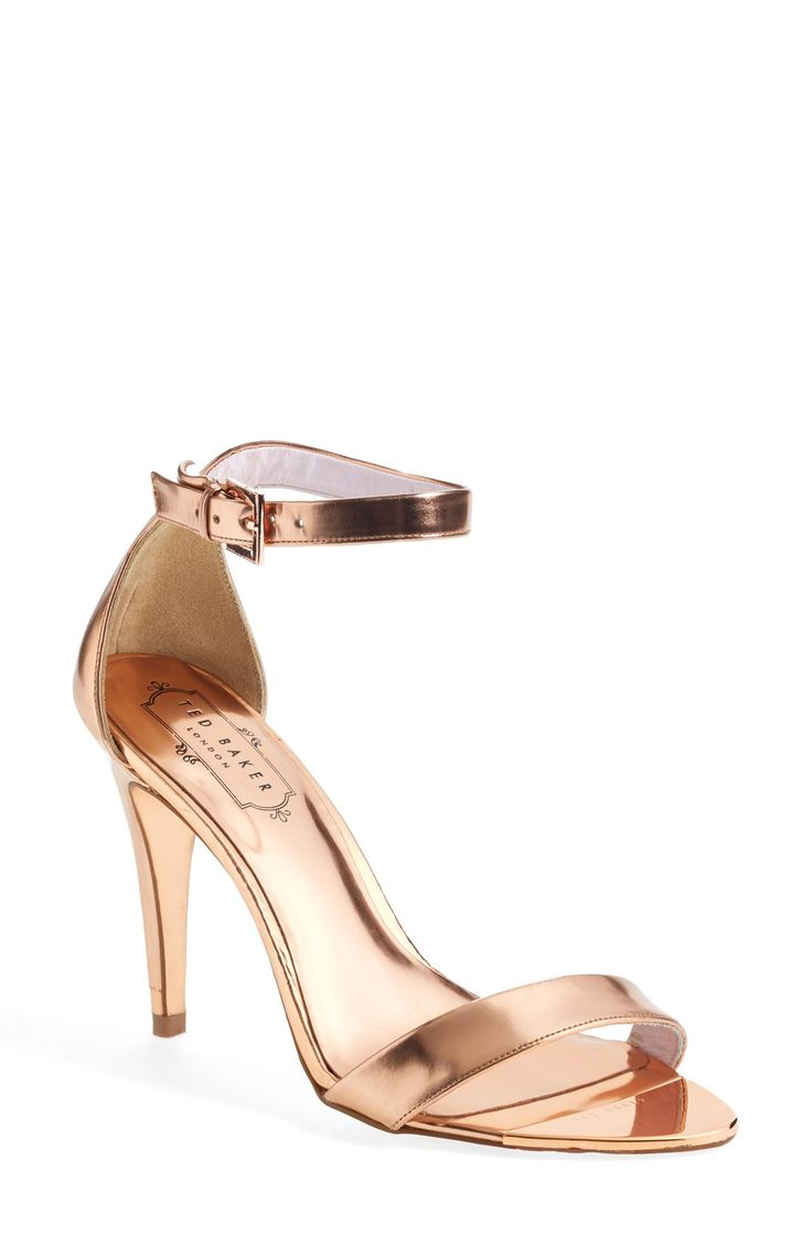 Strappy metallic sandals that will go with anything! These rose gold shoes are the perfect heel height & have extra padding - Great for dancing all night at a wedding.