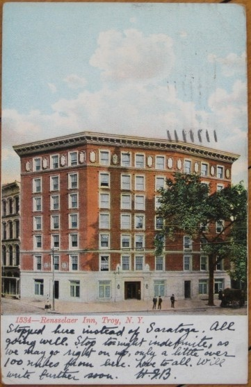 1911 Postcard Rensselaer Inn Troy New York Ny