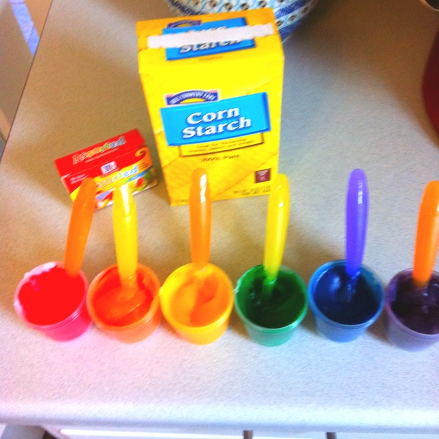 Edible finger paint made with corn starch, sugar, salt and water! Great for kids 3 and under always putting their hands in their mouths =)