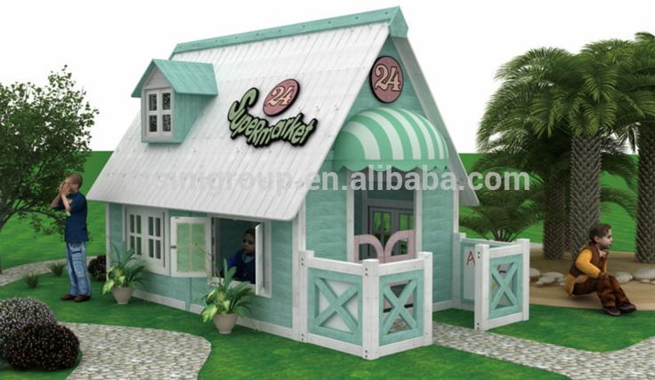 """""""American Countryside Style Outdoor Wooden Playhouse Furniture, Binisi Kids Garden Playhouse For Sale (BF07-70195)"""""""