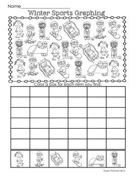 Winter Sports Freebie! Practice graphing with this fun coloring sheet. Great for Kindergarten-1st. Just in time for the Winter Olympics.