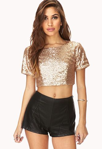 Fancy Sequined Crop Top | FOREVER21 - 2000065551