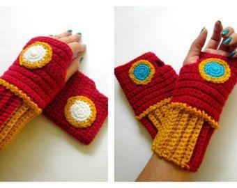 The Original Iron Man Inspired Power Wristees. Wristwarmers. Superhero Fingerless Gloves. Crochet Avengers Marvel Comics Accessory. Cosplay.
