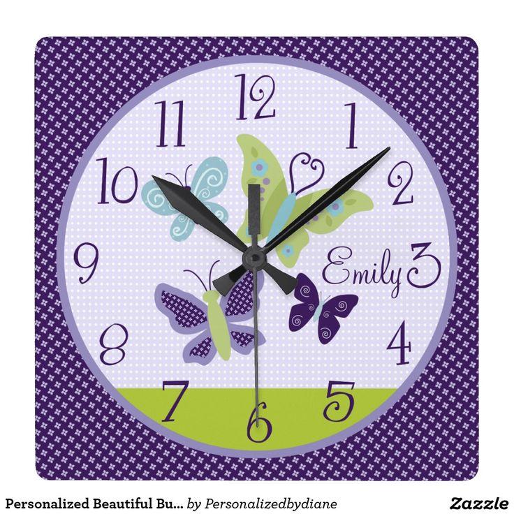 Personalised Beautiful Butterflies Nursery Clock