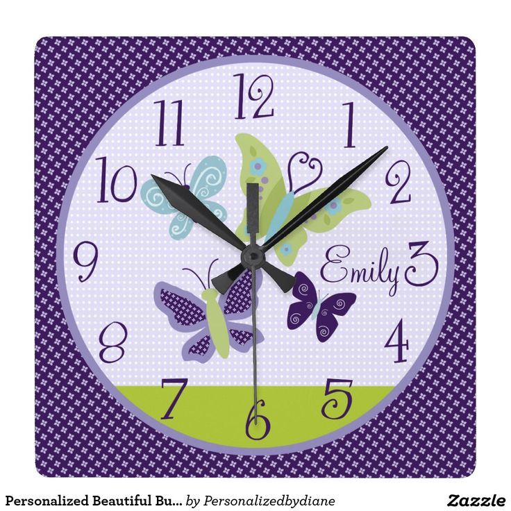 Personalised Beautiful Butterflies Nursery Clock