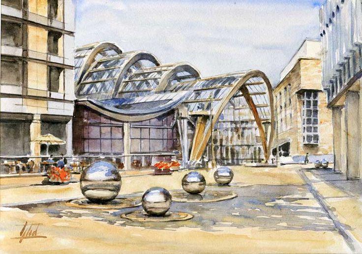"""ARTENDE Contemporary #Art #Gallery - Jaroslaw Glod - #Watercolor - """"Winter Garden - #Sheffield, UK"""" - 21cm x 30cm"""