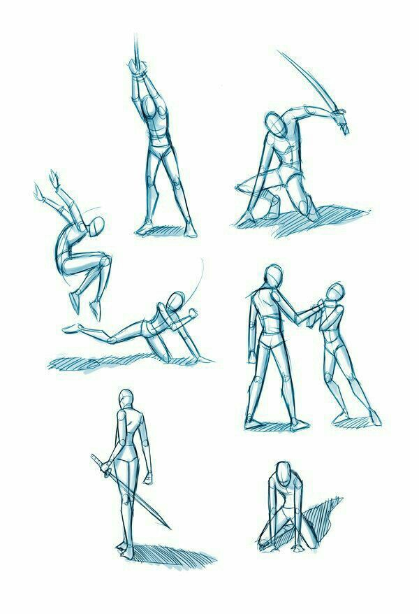 Battle poses, positions, weapons, sword; How to Draw Manga/Anime