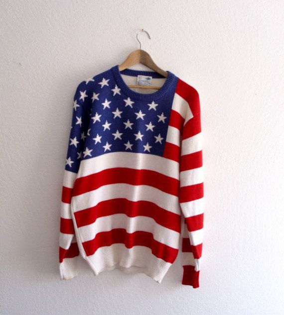 American Flag Vintage 1970s Sweater by KheGreen on Etsy -- I would absolutely wear this.