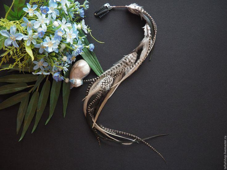 Пепельная стружка - полосатые перья для волос на съемной заколке - полосатый, перо, перья