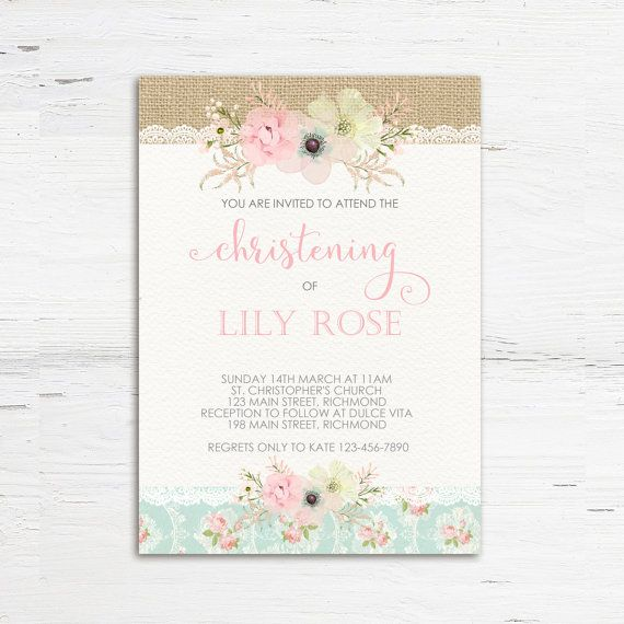 Shabby Chic Christening Invitation Shabby by PrettyLittleInvite