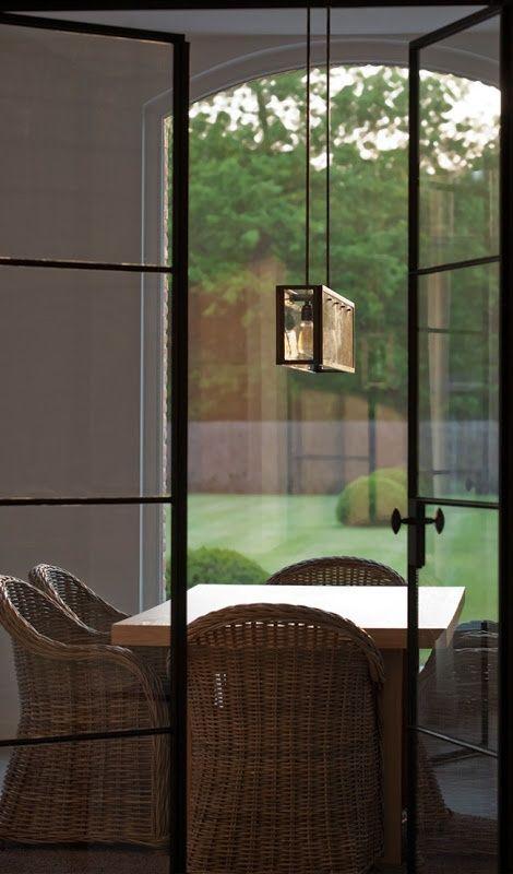 Chandelier - interior/exterior - iron glass door