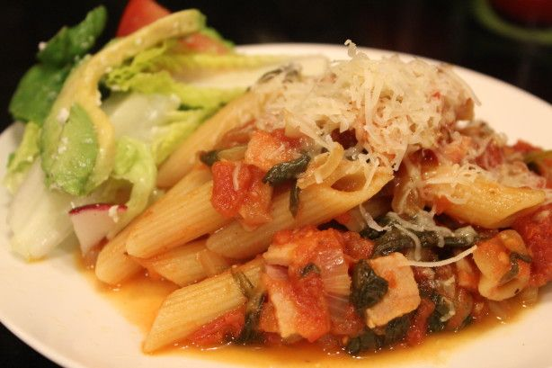Spicy Pasta With Tomato & Bacon Sauce