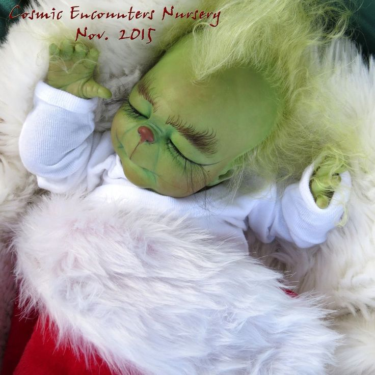 "Adorable Sleeping Grinch Baby Reborn Doll OOAK Girl or Boy 17"" Cosmic Encounters"
