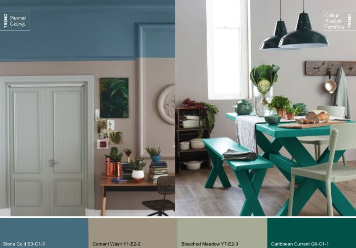 Plascon Colour Forecast 2015 - Continues the trend for earth-inspired themes in interiors. Darker tones of organic greens reflect the rugged forest and inspire interiors where walls, floors and ceilings are all immersed in deep colour. Weathered treatments, mottled pattern and watercolour effects all influence this trend's aesthetic. This new take on a lasting theme provides comfort and tranquility, with an added sense of mystery evoking soothing yet sumptuous hideaways  @plascontrends