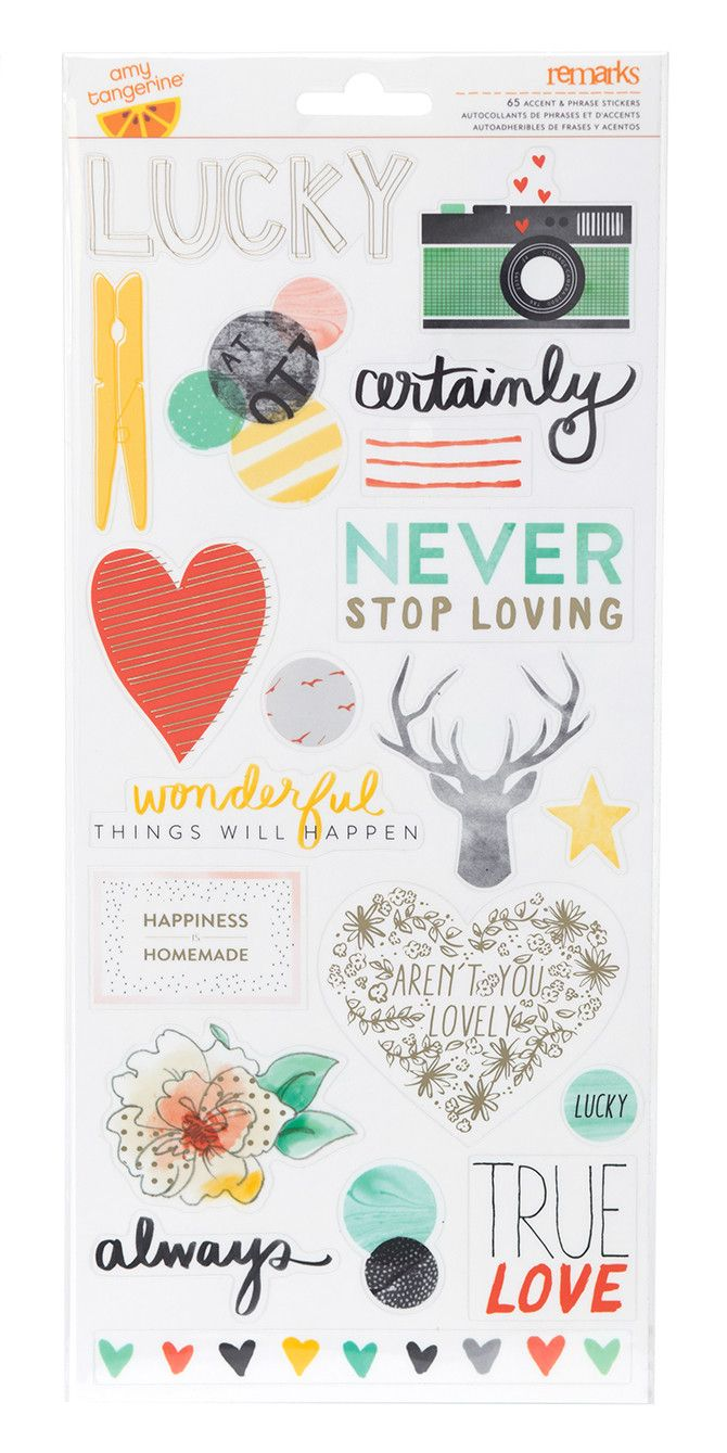 Fun accents to add to scrapbook pages and other paper crafting projects! - Contains two 13x5-3/4 inch sheets with 65 transparent stickers in a variety of designs. - Acid free - Brand: Amy Tangerine -
