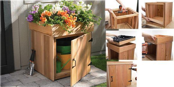 mueble jardinera hecho con palets