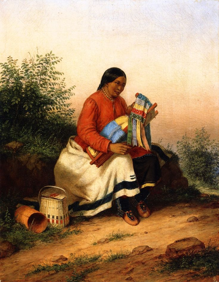 The Athenaeum - Caughnawaga Woman and Baby (Cornelius Krieghoff - circa 1849) Not many historical depictions show the use of the small cloth visor in place like this one.