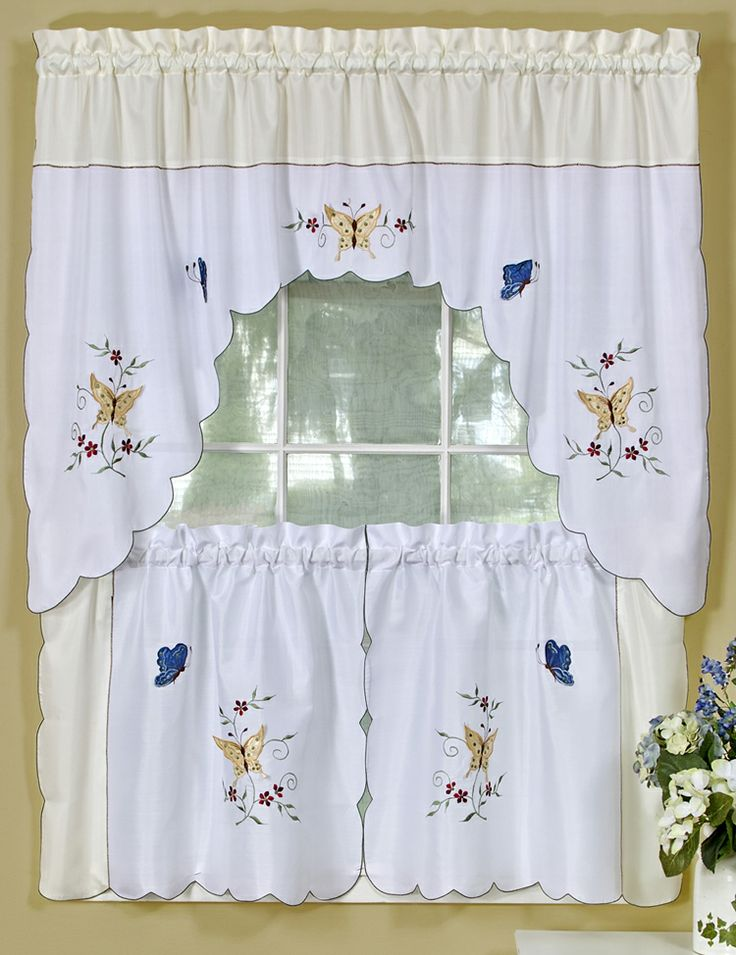 Bella Tier U0026 Swag Set, Butterflies With Floral Embroidery, Discount Kitchen  Curtains   Complete Kitchen Sets