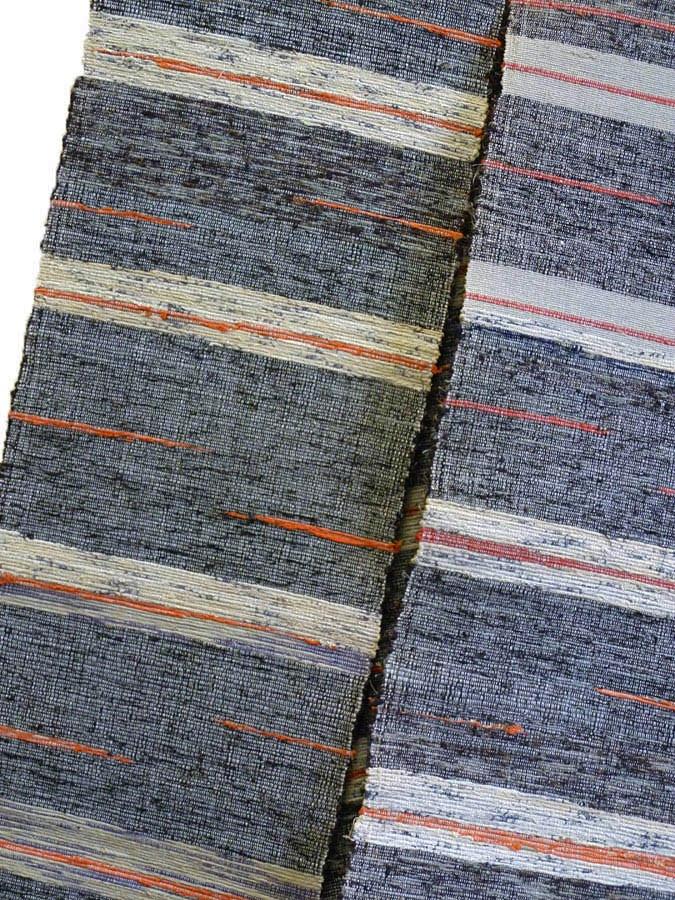 Sri   A Sakiori Obi: Ragweave in Greys and Oranges - beautiful!  I love the stripes with the orange streaks!