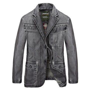 Men\'s Winter PU Leather Jacket Motorcycle Windproof Stand Collar Plus Szie Jacket Coat