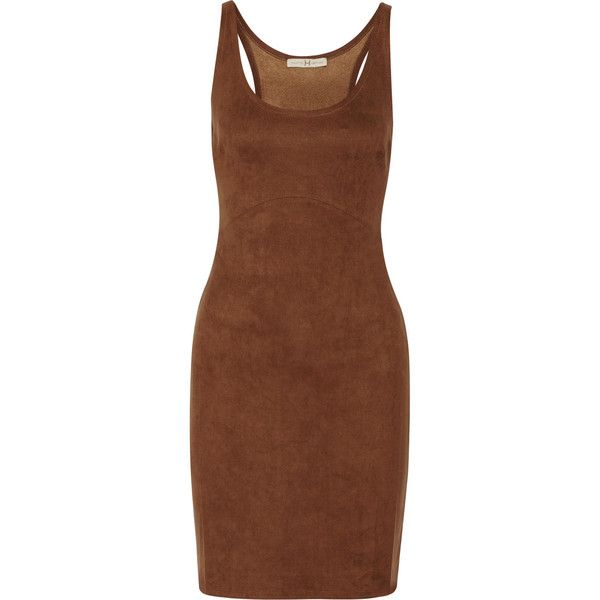 Halston Heritage Faux suede mini dress (£173) ❤ liked on Polyvore featuring dresses, brown, brown dress, faux suede dress, mini dress, short dresses and halston heritage