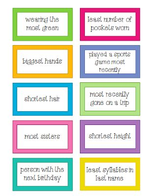 I Love 2 Teach: Who Goes First? 40 Ways for Kids to Decide...40 cards to help kids decide who goes first in a game or a small group activity