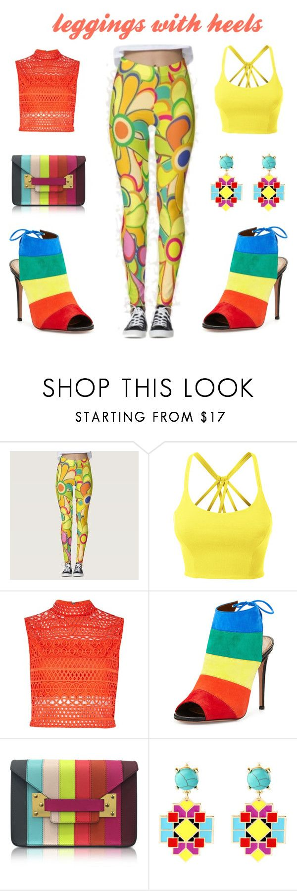 """""""leggings with heels"""" by dharshanaarun ❤ liked on Polyvore featuring LE3NO, River Island, Aquazzura, Sophie Hulme and Loli Bijoux"""
