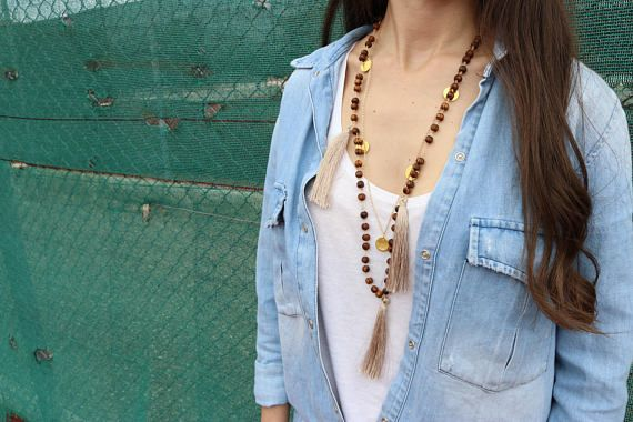 Tiny Discs Necklace, Gold Discs Necklace, Discs Jewelry, Tassels Necklace, Long Tassels Necklaces, Women's Necklaces, Gift for Her.