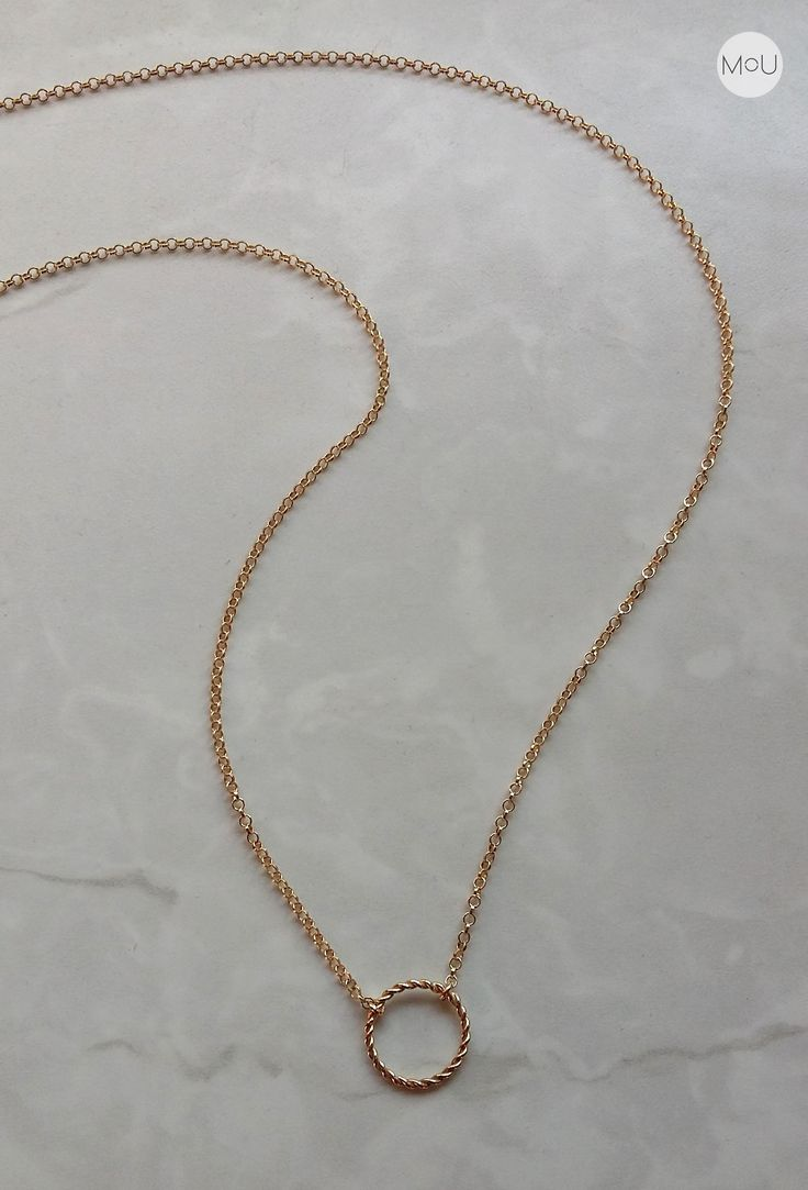 Simple, minimal necklace in boho style; made entirely of sterling silver gold-plated by MOU