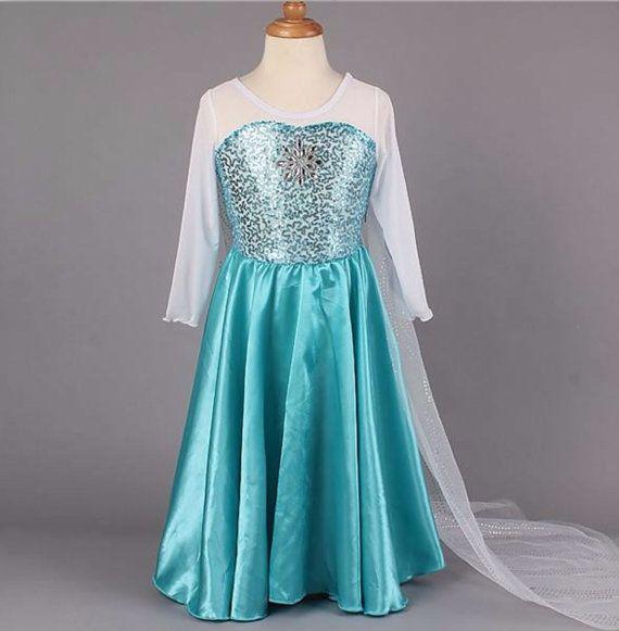 Frozen Princess Elsa Dress with Long Chiffon by Snowflakesboutique, $32.95