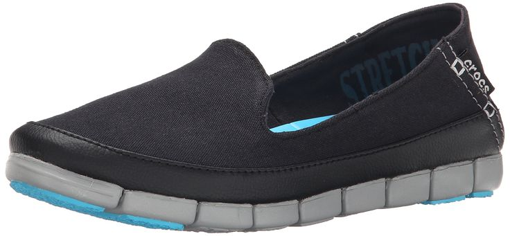 crocs Women's Stretch Sole Skimmer Flat, Black/Light Grey, 6 M US. Stretch canvas uppers hug your feet. Articulated Croslite foam insole for cushion and comfort. Crocs Fit2U Technology: the shoe stretches front to back for a great fit. Articulated outsole flexes with the motion of your foot. Rubber pods on toe and heel for better traction and durability.