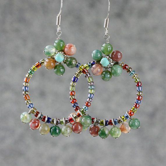 Agate flower hoop earrings handmade ani designs by AnniDesignsllc, $16.95