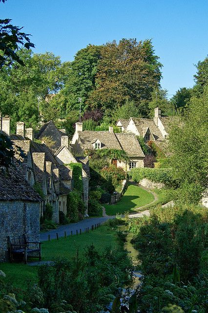 Arlington Row in Bibury, one of the most beautiful villages in Gloucestershire, England.