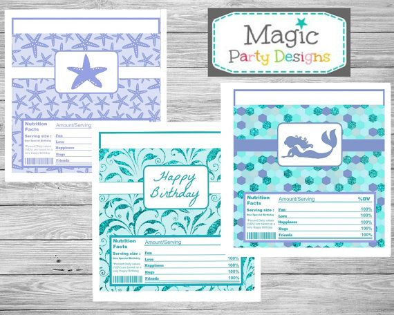Mermaid Birthday candy bar wrapper printable, Mermaid candy bar labels, Under the sea party decorations, chocolate bar wrappers
