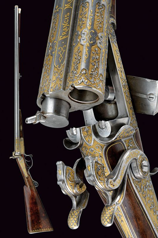 An outstanding double-barrelled pin-fire/percussion shotgun by Francis Marquis. provenance: Paris dating: third quarter of the 19th Century-SR.