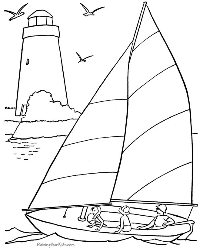 Free Printable Coloring Sail Boat Coloring Pages Find This Pin And More On Kids Summer