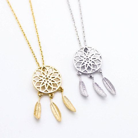"Tiny Gold or Silver ""Dream Catcher"" Necklace"